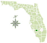 Map of Florida with Babcock Ranch Preserve marked.