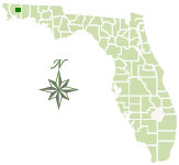 Map of Florida with Blackwater River State Forest marked