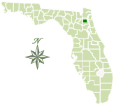 Map of Florida with Belmore State Forest marked