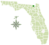 Map of Florida with John M. Bethea State Forest marked