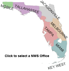 Map of National Weather Service areas in Florida
