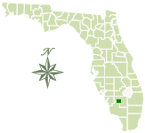 Map of Florida with Okaloacoochee Slough State Forest marked
