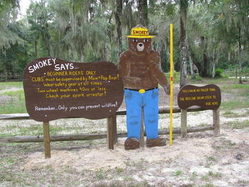Picture: Smokey Bear sign for beginner riding area
