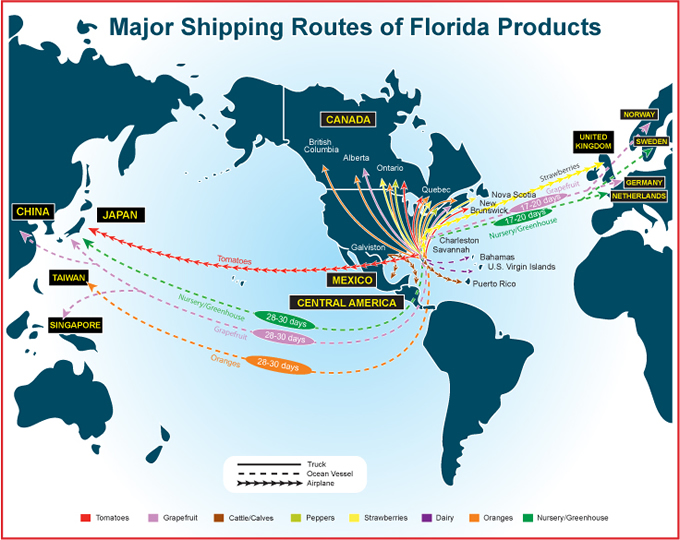 map of the world with major shipping routes of florida products marked