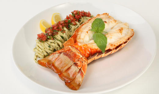 Broiled Florida Spiny Lobster Tails with Pesto Pasta and Tomato-Basil Relish