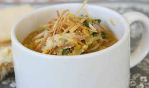 Corn and Crab Soup with Crispy Tortilla Strips