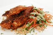 Florida Peanut Crusted Chicken with Carrot-Cucumber Salad
