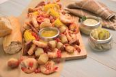 Florida Pink Shrimp Boil with Sweet Corn and New Potatoes