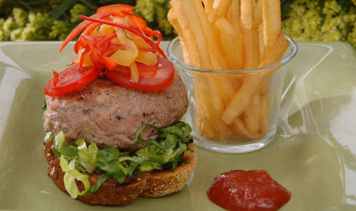 Gator Burgers with Sautéed Florida Peppers