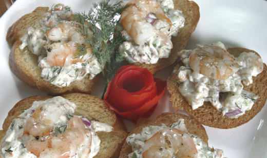 Grilled Shrimp and Dill Canapes