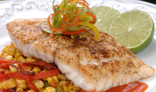 Grouper with roasted corn and peppers grouper seafood for Grouper fish recipes