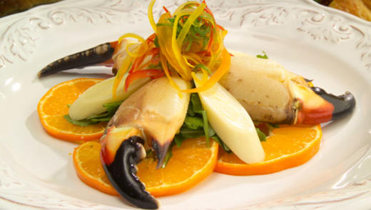 Honey Citrus Stone Crab Claws with Hearts of Palm Salad