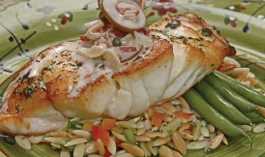 Pan-Grilled Grouper with Green Olive Cream Sauce