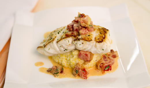 Pan Seared Florida Grouper with Smoked Gouda Grits and Tomato-Bacon Gravy