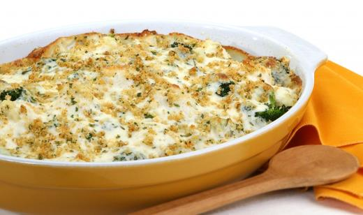 Snowy Broccoli and Cauliflower Bake