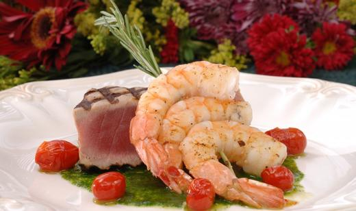 Spice-Rubbed Yellowfin Tuna with Florida Pink Shrimp