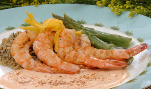 Spiced Shrimp with Mango Curry Cream