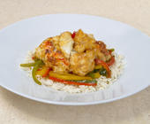 Spiny Lobster Stir-Fry with Sweet Peppers