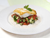 Pan-Seared Red Snapper with Cucumber Relish and Spicy Yogurt Sauce