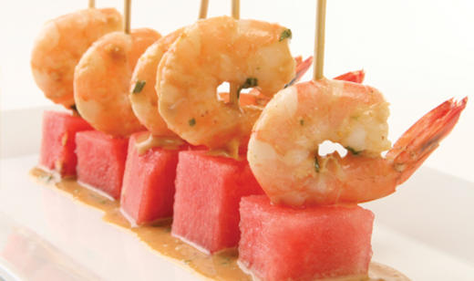 Watermelon and Shrimp Cocktail Skewers