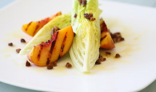 Grilled Florida Peach Salad with Candied Pecans